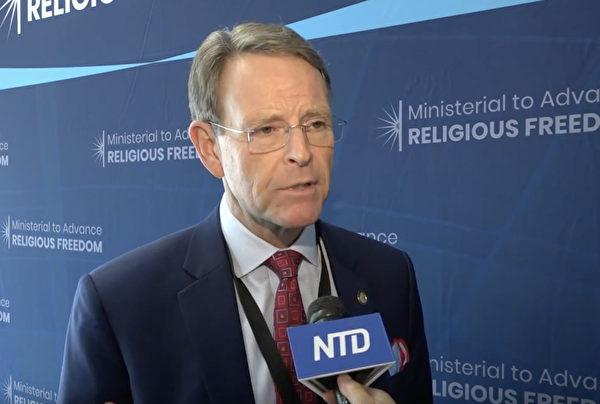 美國國際宗教自由委員會(United States Commission on International Religious Freedom, 簡稱USCIRF)主席托尼・珀金斯(Tony Perkins)。(新唐人電視台圖片)