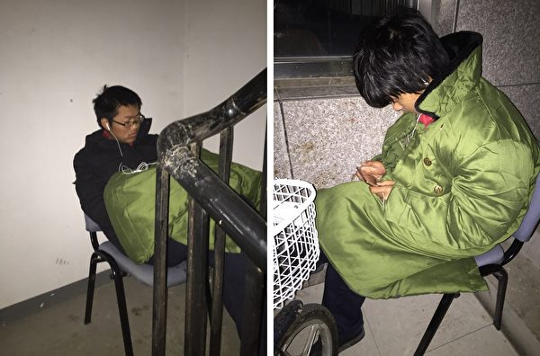 2016到2017年,謝燕益家樓道裏的監控人員,原珊珊手機拍攝。(作者提供)