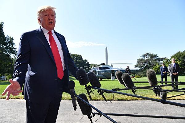 特朗普8月9日表示,美中兩國仍有「公開對話」。(Nicholas Kamm / AFP)