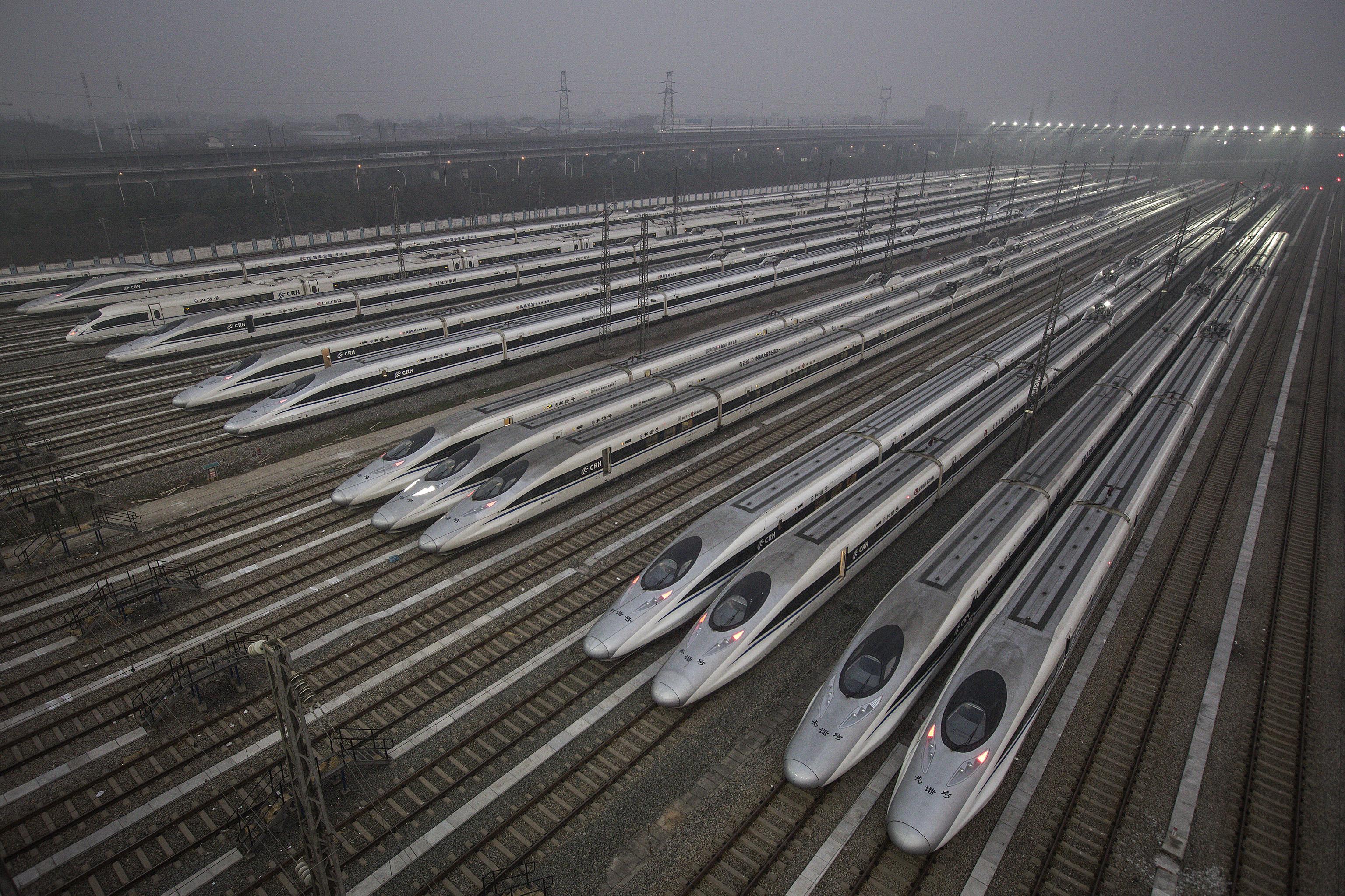 中國高鐵列車。(Wang He/Getty Images)