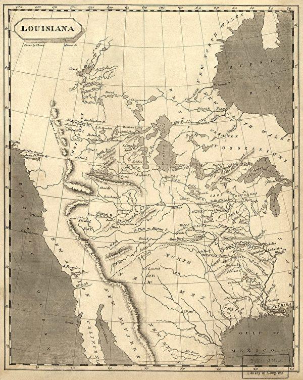 繪於1804年的路易斯安那地圖。(維基百科公有領域)