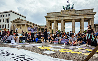 组图:著名景点前 柏林声援香港反送中活动