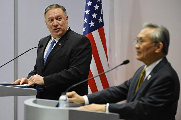 8月1日,美國國務卿蓬佩奧在東盟外長年會上,再次抨擊中共在湄公河上建大壩,和在南海問題上對東南亞鄰國進行「恐嚇」。(ROMEO GACAD/AFP/Getty Images)