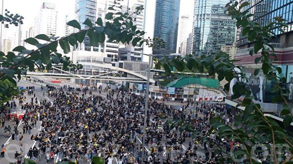 2019年8月5日,香港民間今日發起罷工、罷課、罷市活動。圖為金鐘添馬公園。(May/大紀元)