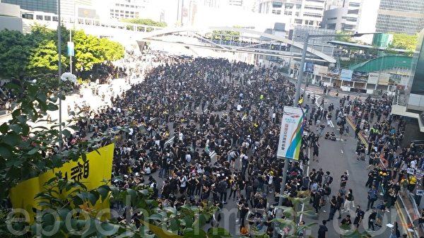 2019年8月5日,香港民間今日發起罷工、罷課、罷市活動。圖為金鐘添馬公園 。(May/大紀元)