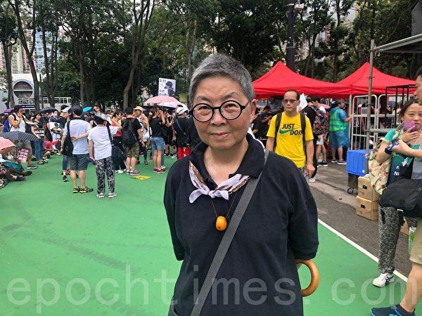 2019年8月18日,立法會前議員、資深大律師吳靄儀參加維多利亞公園集會活動支持反送中。(梁珍/大紀元)