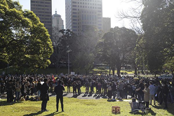 2019年8月18日,澳洲悉尼,市區貝爾莫公園(Belmore Park)舉行反送中集會。(Brook Mitchell/Getty Images)