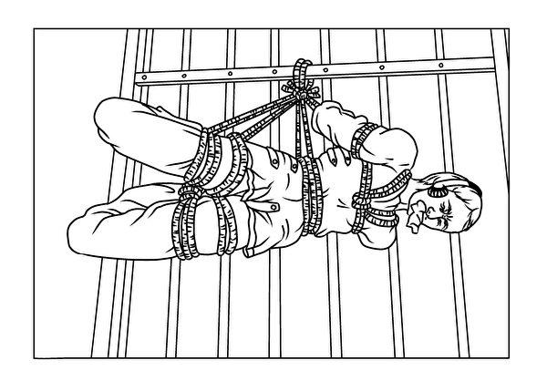 中共酷刑演示圖「約束衣」。(明慧網)