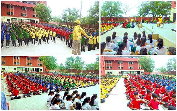 印度納格普市申德惹韋爾斯中學的初中、高中部的學生們學煉法輪功功法。(明慧網)