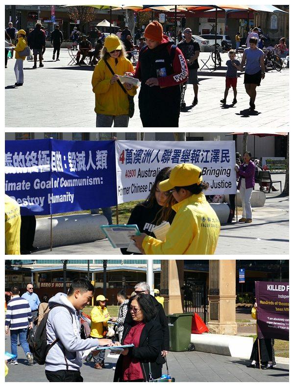 悉尼部份法輪功學員在帕拉馬塔(Parramatta)市中心向當地民眾傳遞真相,路人踴躍簽名支持停止迫害。(安平雅/大紀元)