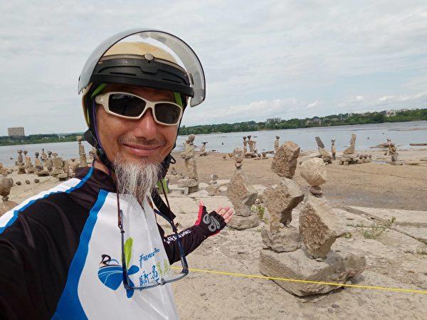 """图:""""不老骑士""""陈敏先为爱而骑,足迹遍全球,今年5月份首次踏上北美大地。(陈敏先提供)"""