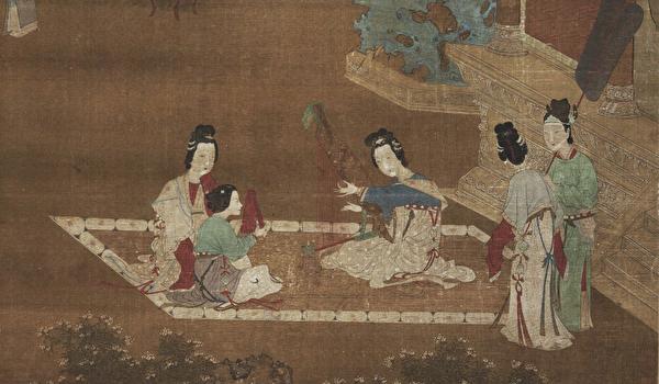 卫子夫由平阳公主引荐,凭借动人的歌喉和美丽的秀发获得汉武帝宠爱。图为明仇珠《女乐图轴》局部。(公有领域)