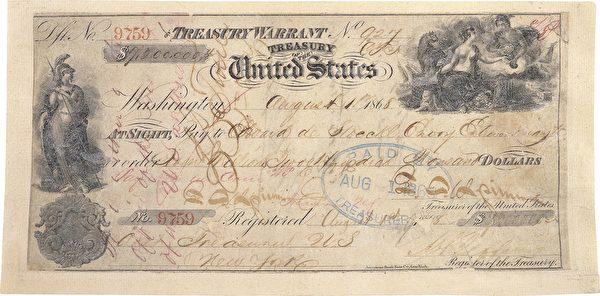 美國購買阿拉斯加原始支票,面額720萬美元。(維基百科公有領域)