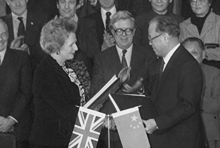 1984年12月19日中英簽署《中英聯合聲明》。(PIERRE-ANTOINE DONNET/AFP/Getty Images)