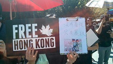 參加集會的王太說,香港人正在爭取的是要有自由,希望將來中國大陸有一天也會擁有香港那樣的自由。(李樂/大紀元)