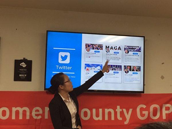盧紫薇告訴義工們,如何在推特上分享信息。(許靜/大紀元)