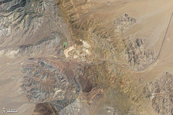 2011年芒廷帕斯稀土礦及其附近的衛星圖像。(維基百科公有領域)