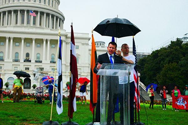"""美国会山纪念""""波罗的海之路"""" 声援香港"""