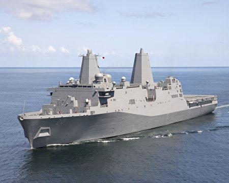 """美国一艘圣安东尼奥级两栖船坞运输舰""""绿湾号""""(USS Green Bay LPD 20)23日由南向北穿越台湾海峡。"""