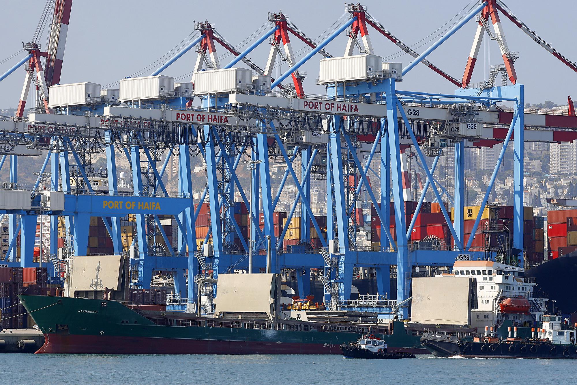 根據一份2015年的協議,上海國際港務集團(SIPG)將在2021年接管以色列戰略港口海法(圖)25年。(JACK GUEZ / AFP)