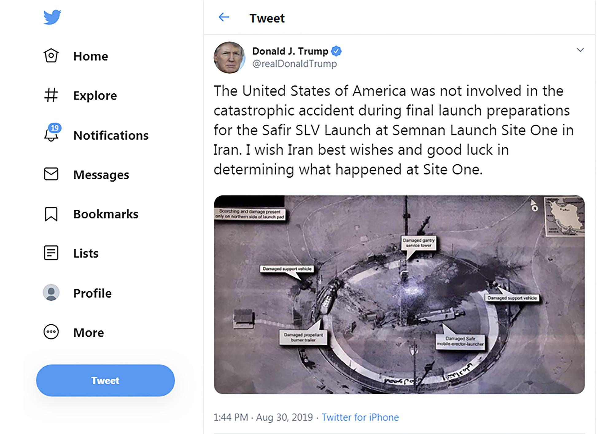 特朗普總統於2019年8月30日貼出的衛星照片透露美國間諜衛星技術的先進程度。(Handout/AFP)