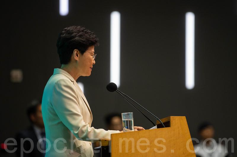 特首林鄭月娥9月4日下午4時在政府總部會見記者。(李逸/大紀元)