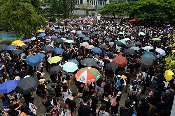 2019年9月8日,香港民眾舉行《香港人權與民主法案》祈禱會和美領館請願行動。(宋碧龍/大紀元)