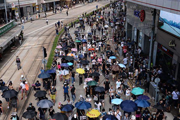 2019年9月15日,香港民眾參與銅鑼灣遊行。圖為遊行至軒尼詩道。(宋碧龍/大紀元)