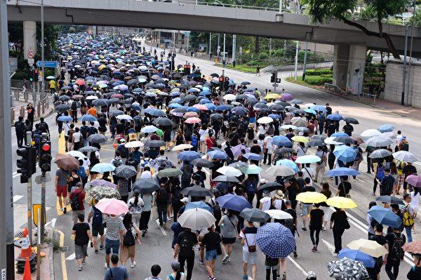 2019年9月15日,香港民眾參與銅鑼灣遊行。圖為遊行至金鐘軒尼詩道。(宋碧龍/大紀元)