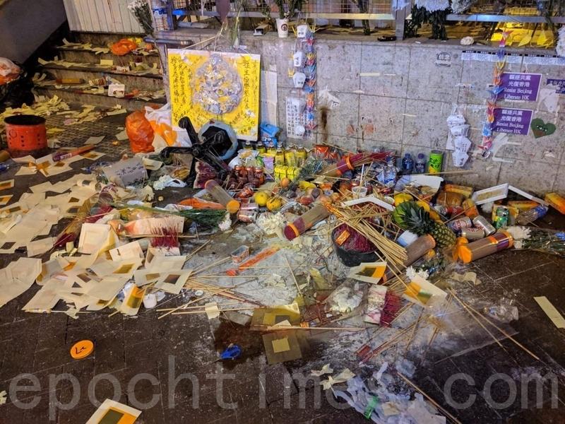 2019年9月23日晚上,香港太子站,祭壇被警方破壞。(黃曉翔/大紀元)