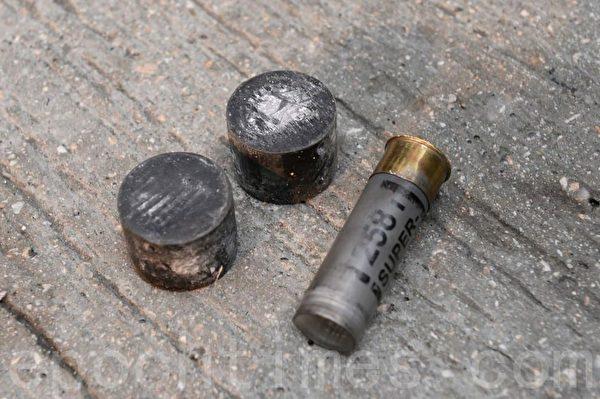 2019年9月29日,香港民眾在灣仔有抗爭者被警察用橡膠子彈射傷。圖為警方發射後的橡膠子彈殼。(宋碧龍/大紀元)