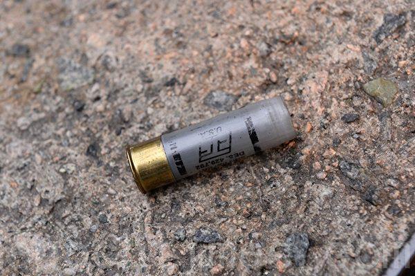 2019年9月29日,香港民眾在灣仔有抗爭者被警察用橡膠子彈射傷。圖為橡膠子彈殼。(宋碧龍/大紀元)