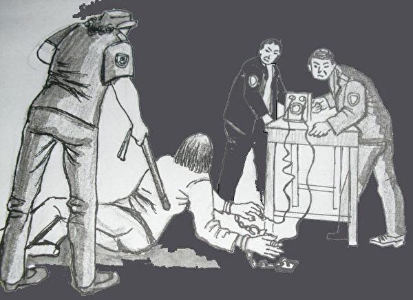 中共酷刑示意圖:銬地環並電擊。(明慧網)