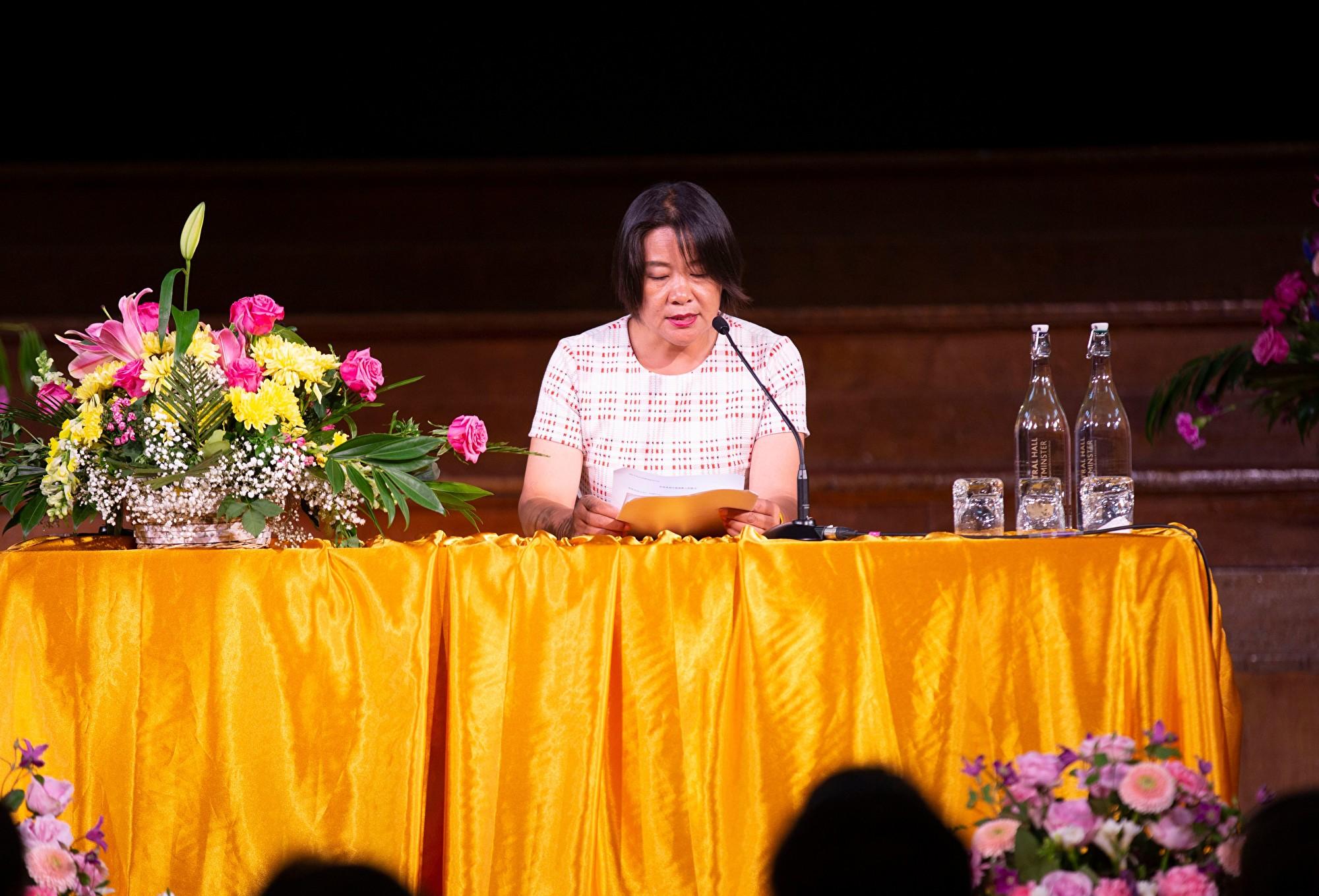 8月31日,來自法國的孫璟泓在2019年歐洲法輪大法心得交流會上發言。(曉龍/大紀元)