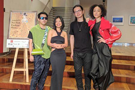 14日的「亞洲時裝秀」上,臺灣設計師們將向紐約的觀眾展示自己的作品。左起:魏子淵、柯詩群、張傑閔、模特兒儷瑪·摩娜(Naima Mora)。
