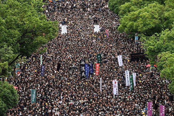 2019年9月2日,中文大學百萬大道舉行罷課集會活動。(PHILIP FONG/AFP/Getty Images)