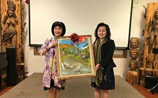 圖:僑務諮詢委員葉憲年9月15日舉辦首次國畫個展,展示她國畫方面的天賦才華。(邱晨/大紀元)