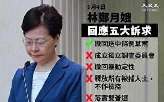 2019年9月4日晚6时,香港特首林郑月娥宣布撤回逃犯条例修订案。(大纪元)