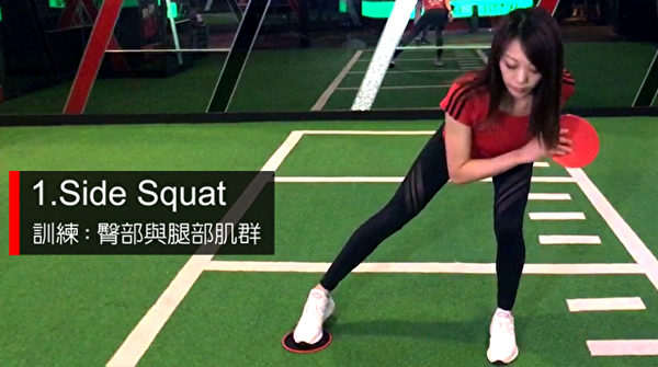 甩肉动作之一:Side Squat。(World Gym提供)