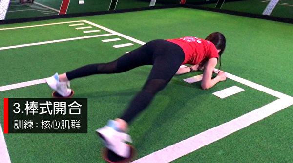 甩肉动作之三:棒式开合。(World Gym提供)