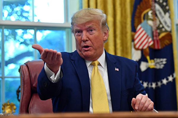 特朗普在新聞會上表示,美中談判在中方購買美國農產品、貨幣協議、中國金融服務開放、強制技術轉讓、知識產權等方面均獲得進展。(Nicholas Kamm/AFP)