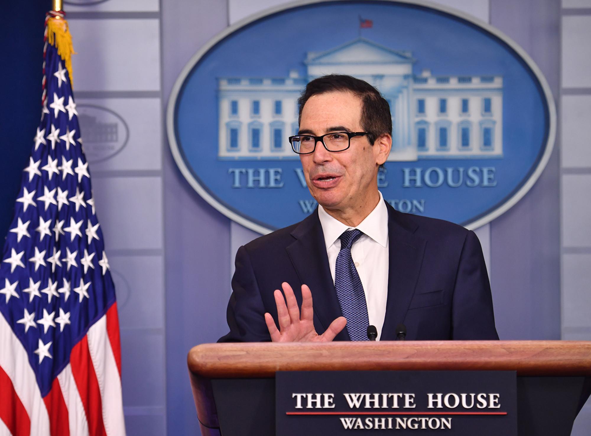 美國財政部長史蒂芬‧姆欽(Steven Mnuchin)10月16日表示,中美貿易談判代表正在努力確定第一階段貿易協議的文本,協議包括知識產權保護章節。(Nicholas Kamm/AFP)