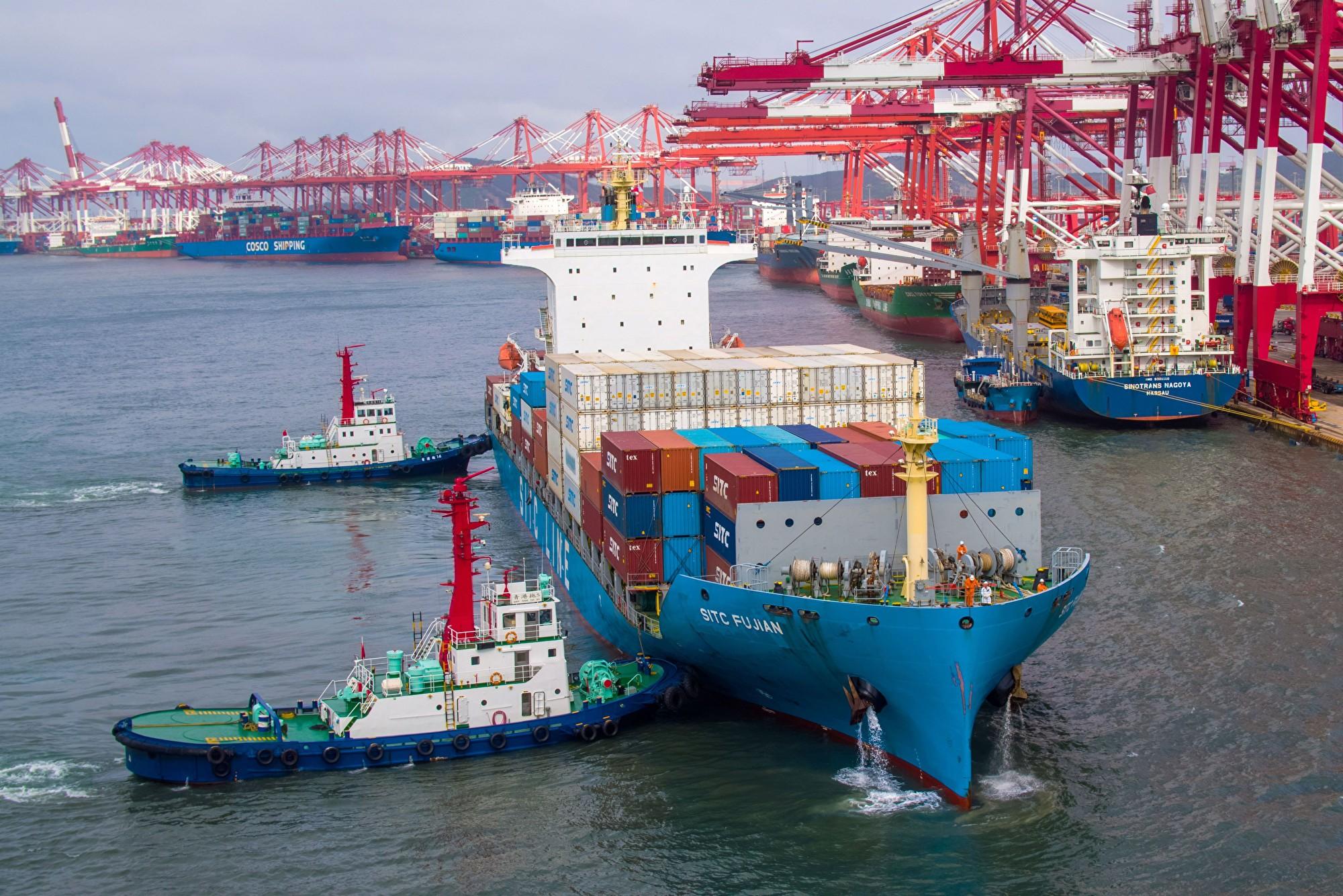 2019年5月中國山東青島的海港。(STR/AFP)
