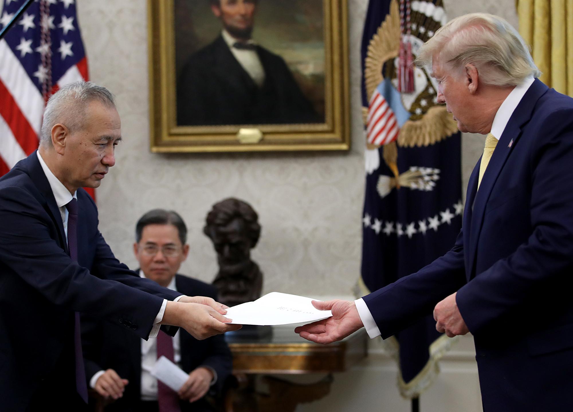 劉鶴再次向特朗普轉交習近平的信