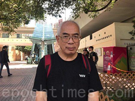 時事評論員程翔參加七一大遊行期間,接受本報記者採訪。(林怡/大紀元)