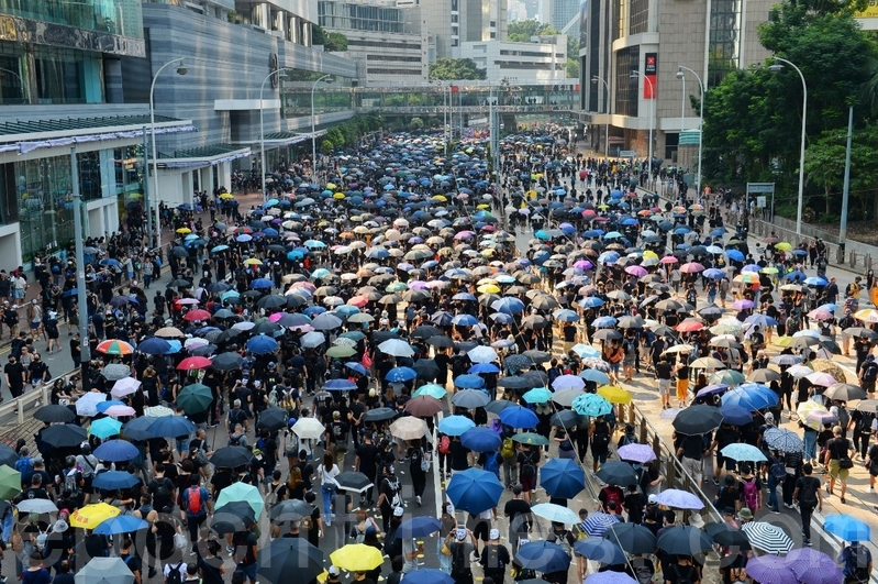 2019年10月1日,香港市民金鐘遊行,抗議暴政。(宋碧龍/大紀元)