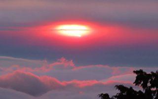 阿里山罕見美景 夕陽如蛋黃般美麗