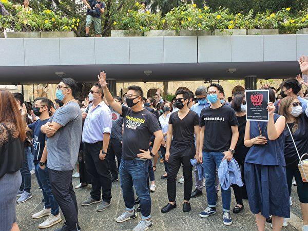 2019年10月4日,中環戴口罩快閃遊行,反對《禁蒙面法》。(孫明國/大紀元)