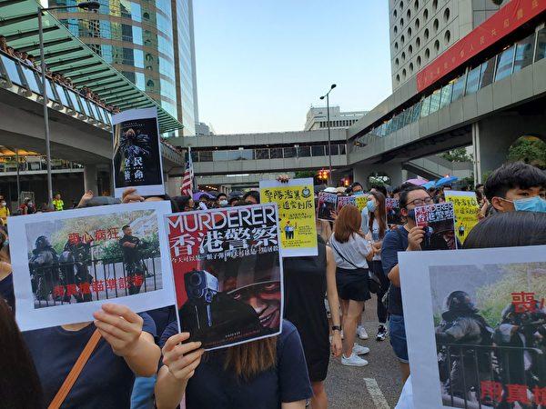 2019年10月4日,香港民眾聚集在中環。(駱亞/大紀元)