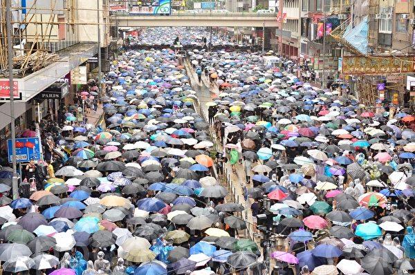 2019年10月6日,反對《緊急法》港島區大遊行。銅鑼灣鵝頸橋。(余天祐/大紀元)